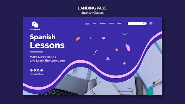 Conception de la page de destination des cours d'espagnol