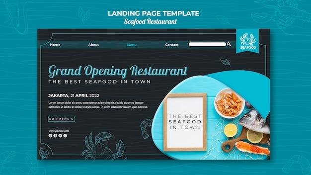 Conception de la page de destination du restaurant de fruits de mer