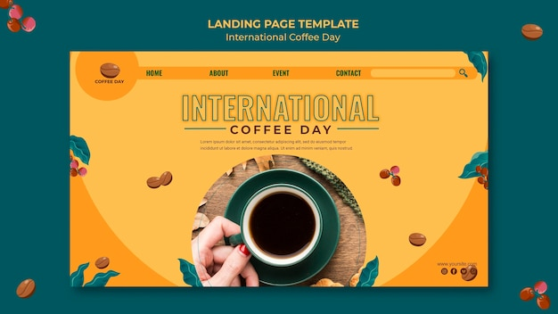 Conception de la page de destination de la journée internationale du café