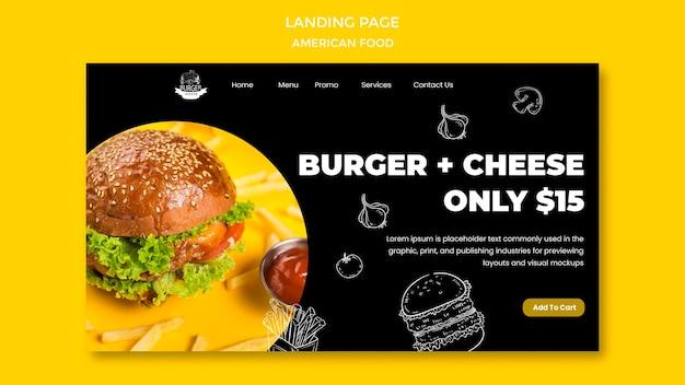Conception de page de destination de la nourriture américaine
