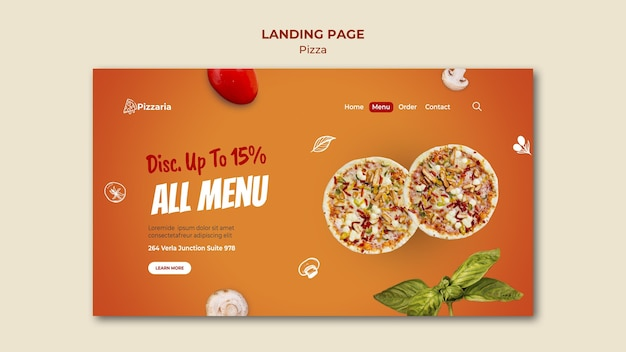 Conception de page de destination de pizza