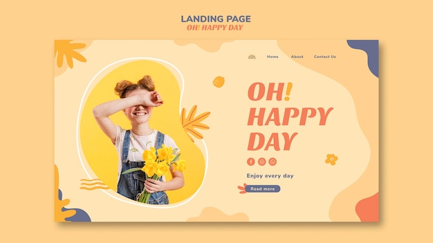 Conception de page de destination pour le concept happy day