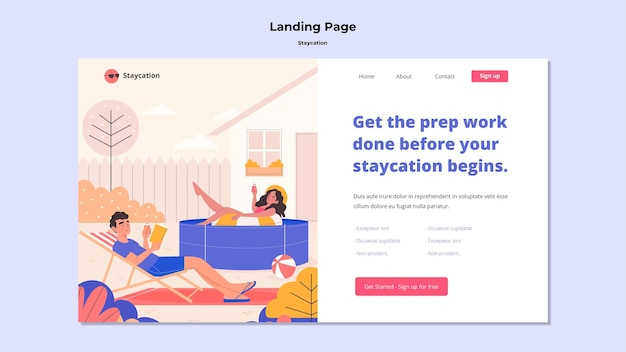 Conception de page de destination pour le concept staycation