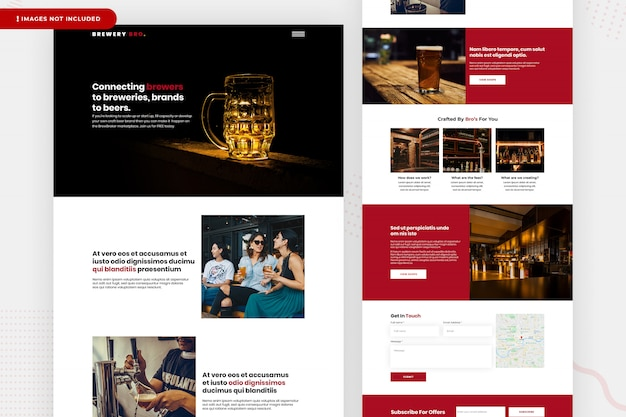 Conception de page de site web de brasserie