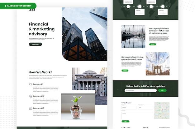 Conception de page de site web de conseil financier et marketing