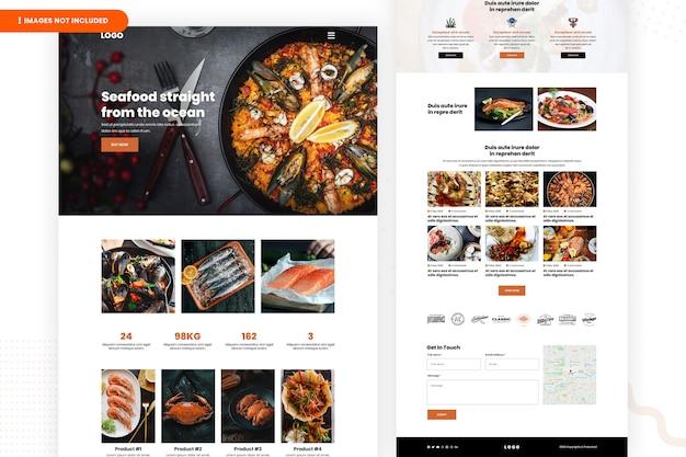 Conception de page de site web de fruits de mer