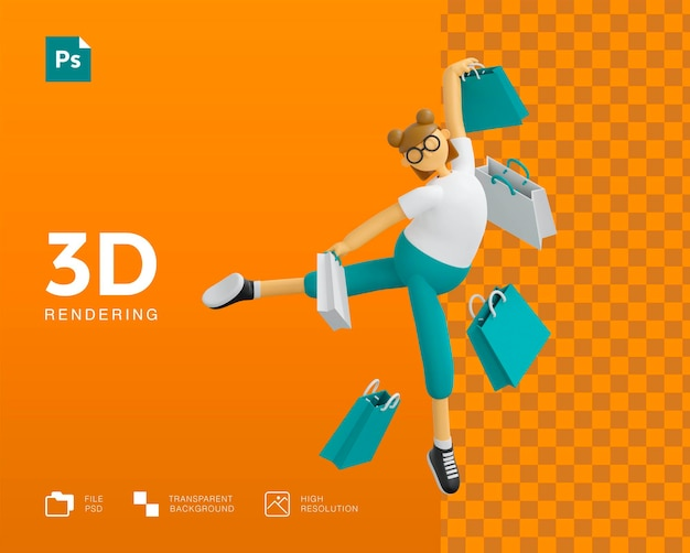 Conception de personnage de fille shopping 3d