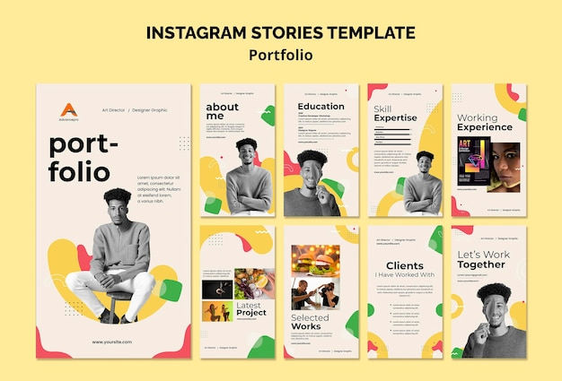 Conception à plat du modèle d'histoires insta de portfolio