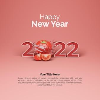 Conception de poste de bonne année 2022 avec rendu 3d tomate