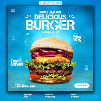 Conception de poste promotionnel de hamburgers super délicieux