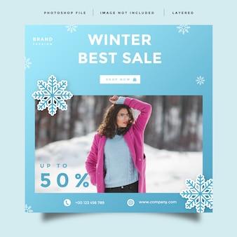 Conception de promotion après publication de flux de médias sociaux de vente d'hiver