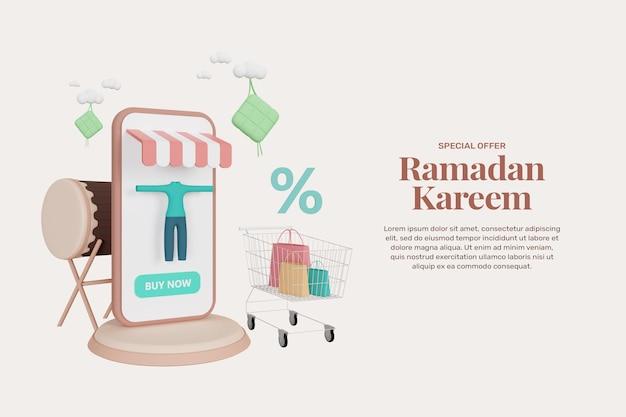 Conception de promotion de modèle de bannière de vente ramadan de rendu 3d