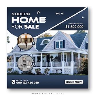 Conception de publication ou de bannière sur les médias sociaux de la maison immobilière
