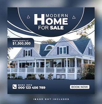 Conception de publication instagram sur les médias sociaux de la maison immobilière