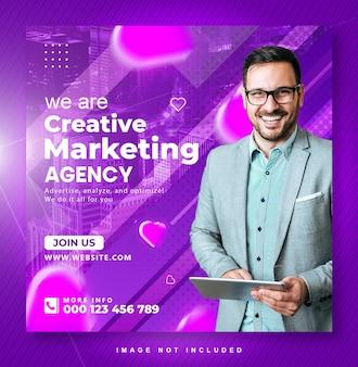 Conception de publication instagram sur les médias sociaux de marketing numérique