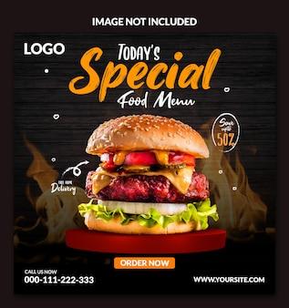 Conception de publication sur les médias sociaux pour burger de menu alimentaire spécial d'aujourd'hui