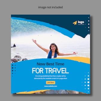 Conception de publication de médias sociaux premium pour les voyages