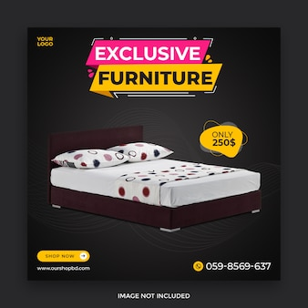 Conception de publication de médias sociaux de vente de meubles exclusifs modèle psd premium