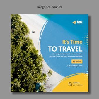 Conception de publication de médias sociaux de voyage
