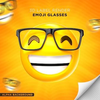 Conception de rendu 3d de l'étiquette des lunettes emoji