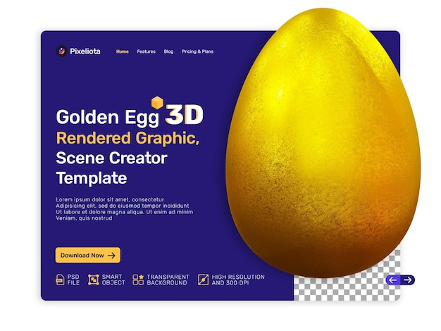 Conception de rendu 3d golden egg