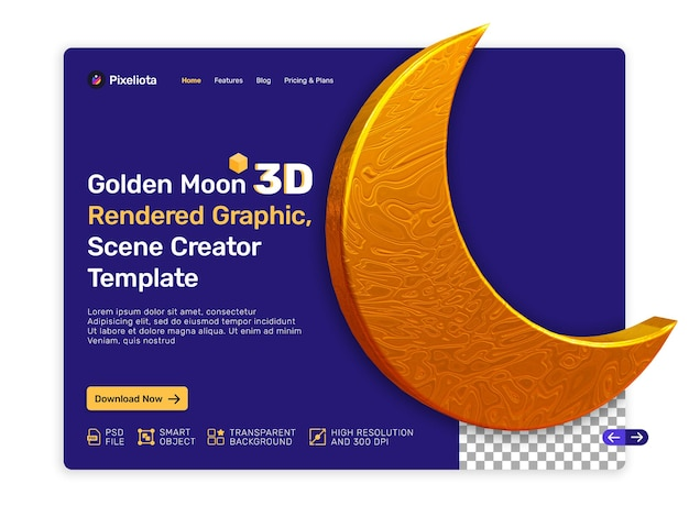 Conception de rendu 3d golden moon