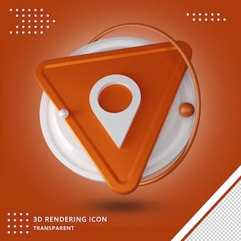 Conception de rendu 3d de l'icône de localisation des médias sociaux
