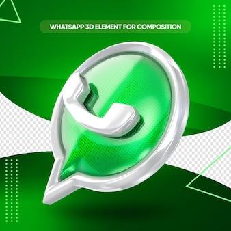 Conception de rendu 3d icône whatsapp