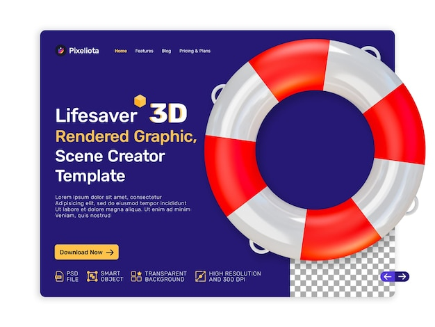 Conception de rendu 3d lifesaver