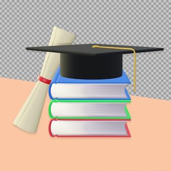 Conception de rendu de livre de remise des diplômes 3d isolée