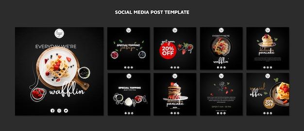 Conception de restaurant de brunch sur les médias sociaux