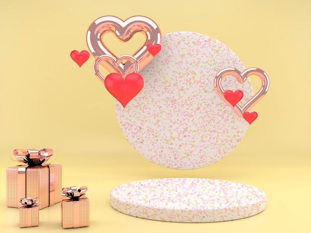 Conception de la saint-valentin avec piédestal et coeurs en rendu 3d
