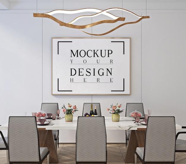 Conception de salle à manger classique moderne avec affiche de cadre de maquette