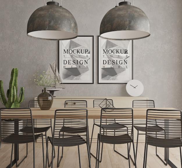 Conception de salle à manger contemporaine moderne avec affiche de maquette encadrée