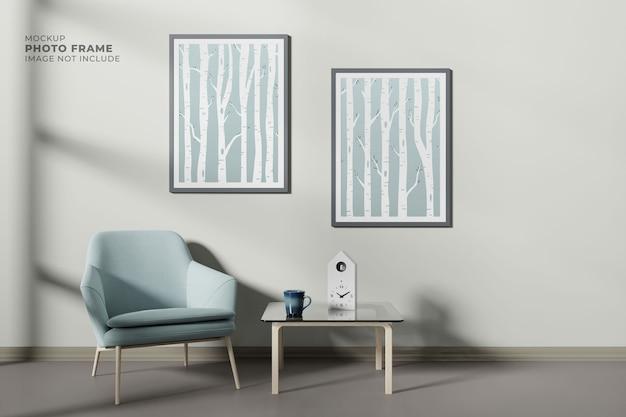 Conception de salon moderne et simple avec cadre d'affiche de maquette