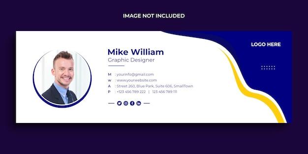 Conception de signature de courrier électronique ou pied de page de courrier électronique et modèle de couverture de médias sociaux personnels
