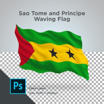 Conception de vague de drapeau de sao tomé et principe transparent