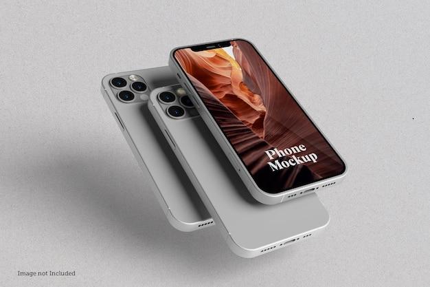 Conceptions de maquettes de smartphones en rendu 3d