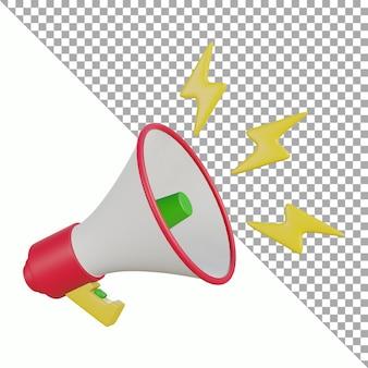 Concevoir un tracé de détourage coloré mégaphone rendu 3d