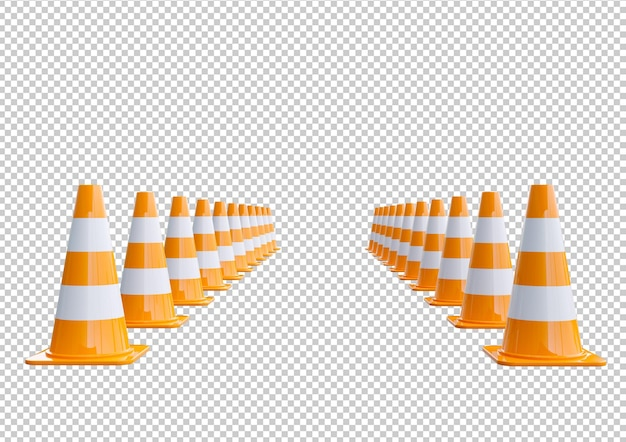 Cône de signalisation orange en plastique aligné