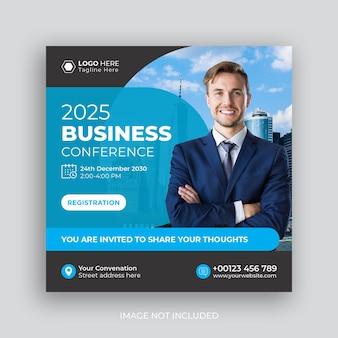 Conférence sur les médias sociaux post marketing bannière sociale d'entreprise
