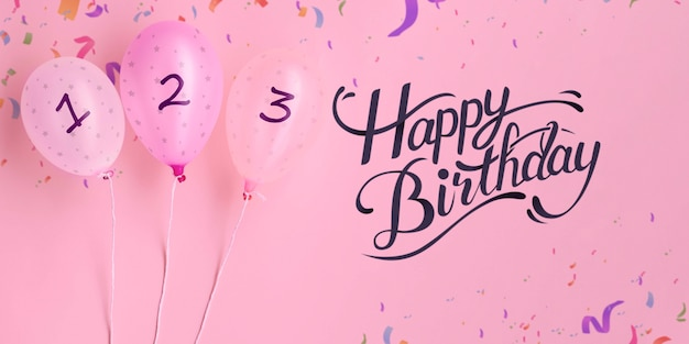 Confettis et ballons de compte à rebours joyeux anniversaire