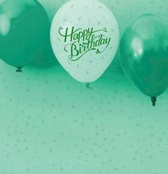 Confettis et ballons monochromes joyeux anniversaire