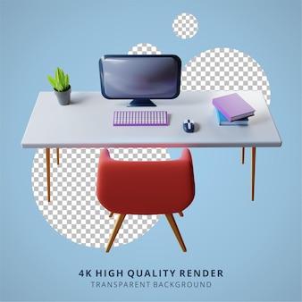 Configuration du bureau pour le travail à domicile illustration de rendu 3d de haute qualité
