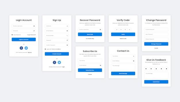 Connexion, inscription, récupération, vérification, contact, abonnement et formulaire de commentaires pour le web et les mobiles