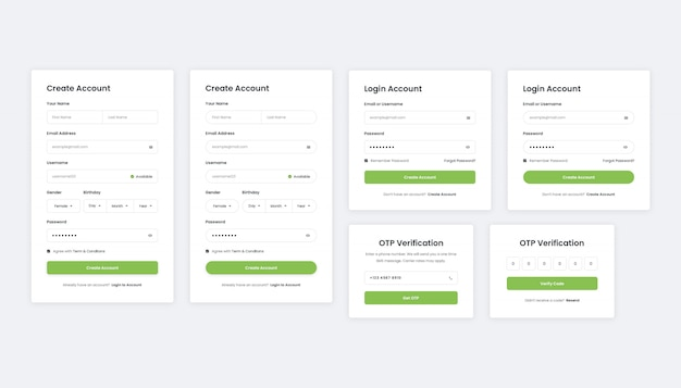 Connexion, inscription et vérification des pages d'enregistrement d'utilisateurs web et mobiles