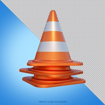 En construction avec le rendu 3d traffic cone