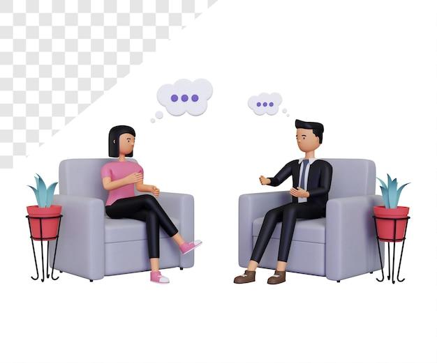 Consultation 3d avec personnage féminin et personnage masculin