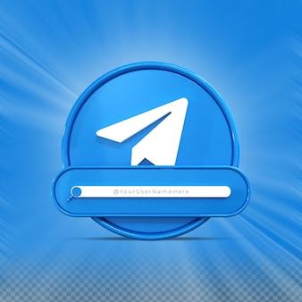 Contactez-moi sur les médias sociaux telegram profil d'icône de bannière rendu 3d tiers inférieur