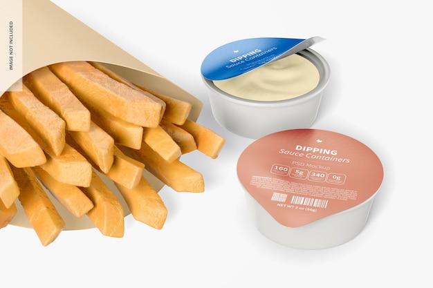 Contenants de sauce à tremper avec maquette de frites